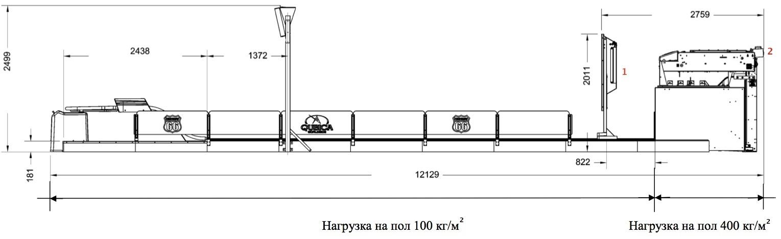 Размеры и нагрузка на пол в зоне дорожек и машин
